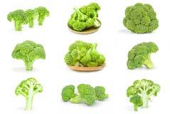 Collage dei broccoli verdi freschi su un fondo Immagini Stock