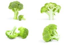 Collage dei broccoli verdi freschi su un percorso di ritaglio bianco del fondo Fotografia Stock Libera da Diritti