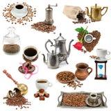 Collage dei chicchi di caffè e degli utensili della cucina Immagine Stock Libera da Diritti