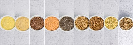 Collage dei chicchi differenti su fondo grigio Vista superiore di grano saraceno, chia, lino, amaranto, lenticchie, cuscus, grano immagini stock