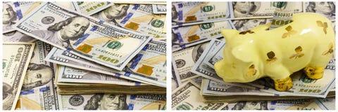 Collage dei contanti del porcellino salvadanaio di concetto di risparmio Immagine Stock