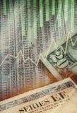 Collage dei contanti delle obbligazioni degli stock fotografia stock libera da diritti