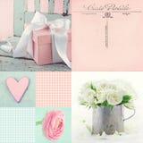 Collage dei fiori e dei presente Fotografia Stock