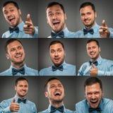 Collage dei fronti sorridenti dell'uomo del ritratto Immagine Stock Libera da Diritti