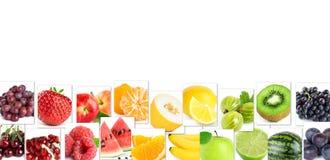 Collage dei frutti di colore Alimento maturo fresco immagine stock