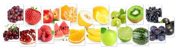 Collage dei frutti di colore Alimento maturo fresco immagini stock