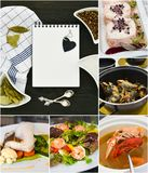 Collage dei frutti di mare Concetto di ricetta fotografia stock