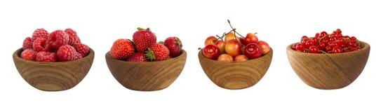 Collage dei frutti rossi e bacche isolate su bianco Immagine Stock Libera da Diritti