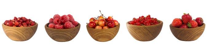 Collage dei frutti rossi e bacche isolate su bianco Fotografia Stock