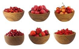 Collage dei frutti rossi e bacche isolate su bianco Fotografia Stock Libera da Diritti