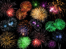 Collage dei fuochi d'artificio multicolori Fotografia Stock Libera da Diritti