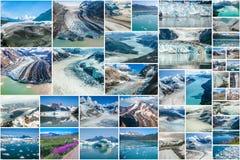 Collage dei ghiacciai dell'Alaska Fotografia Stock Libera da Diritti