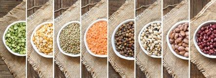 Collage dei legumi in ciotole fotografie stock