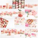 Collage dei maccheroni - biscotti francesi tradizionali, collage dei maccheroni delicati differenti immagini stock