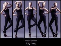 Collage dei modelli di moda che posano in uno studio Fotografia Stock Libera da Diritti