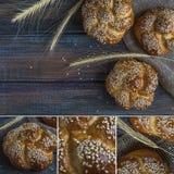 Collage dei panini con i semi di sesamo su un fondo di legno Immagine Stock Libera da Diritti