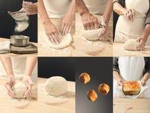 Collage dei panini e del pane deliziosi Fotografie Stock Libere da Diritti