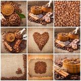 Collage dei particolari del caffè Cioccolato, cannella, spezie e chicchi di caffè in tazza e uno sciolto su una tavola di legno i Fotografia Stock Libera da Diritti