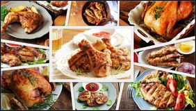 Collage dei pasti del pollo Metta dai vari generi di piatti del menu del ristorante Immagine Stock