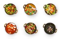 Collage dei piatti del ristorante isolati su bianco Fotografie Stock Libere da Diritti