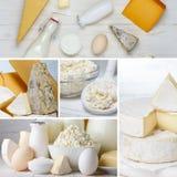 Collage dei prodotti lattier-caseario Fotografie Stock