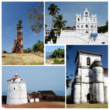 Collage dei punti di riferimento di Goa di nord e sud, India Immagine Stock