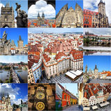Collage dei punti di riferimento di Praga Immagine Stock