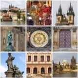 Collage dei punti di riferimento di Praga fotografie stock