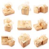 Collage dei regali dell'oro immagine stock libera da diritti