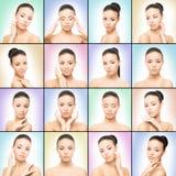 Collage dei ritratti della giovane donna Fotografia Stock