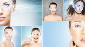 Collage dei ritratti delle giovani donne con gli ologrammi del laser Fotografia Stock Libera da Diritti