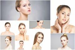 Collage dei ritratti delle giovani donne nel trucco Immagine Stock Libera da Diritti