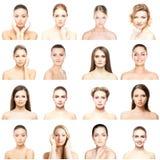 Collage dei ritratti differenti delle giovani donne nel trucco Immagine Stock