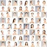 Collage dei ritratti differenti delle giovani donne nel trucco fotografia stock