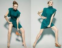 Collage dei ritratti emozionali di un modello di moda splendido Fotografia Stock