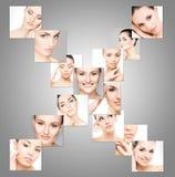 Collage dei ritratti femminili con gli ologrammi Fotografie Stock Libere da Diritti