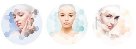 Collage dei ritratti femminili Fronti sani delle giovani donne Stazione termale, lifting facciale, concetto del collage della chi fotografia stock