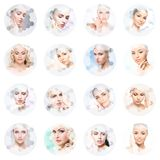 Collage dei ritratti femminili Fronti sani delle giovani donne Stazione termale, lifting facciale, concetto del collage della chi immagini stock