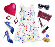 Collage dei vestiti di estate della donna isolati su bianco Fotografie Stock