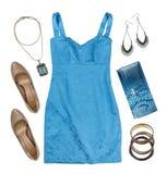 Collage dei vestiti e degli accessori di estate della donna isolati su bianco Fotografia Stock Libera da Diritti
