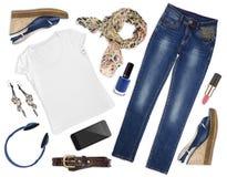 Collage dei vestiti e dei assessories femminili di autunno isolato Immagine Stock