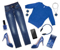 Collage dei vestiti e dei assessories femminili di autunno su bianco Immagine Stock Libera da Diritti