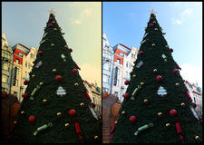 Collage del árbol de navidad del caramelo Foto de archivo libre de regalías