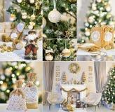 Collage del Año Nuevo con las decoraciones hechas a mano Imagen de archivo libre de regalías
