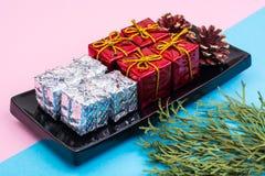 Collage del Año Nuevo y de la Navidad en fondo en colores pastel Imagen de archivo