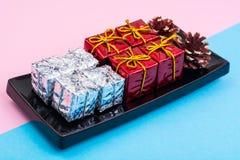 Collage del Año Nuevo y de la Navidad en fondo en colores pastel Imágenes de archivo libres de regalías
