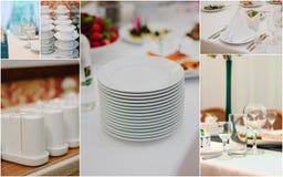Collage del abastecimiento de la boda - comida y loza para la cena del ensayo fotos de archivo libres de regalías