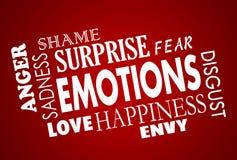 Collage del amor de la cólera de Sadess de la felicidad de las emociones ilustración del vector
