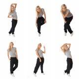 Collage del bailarín con estilo del salto de la cadera de las imágenes Imagen de archivo libre de regalías