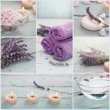 Collage del balneario de la lavanda fotografía de archivo libre de regalías